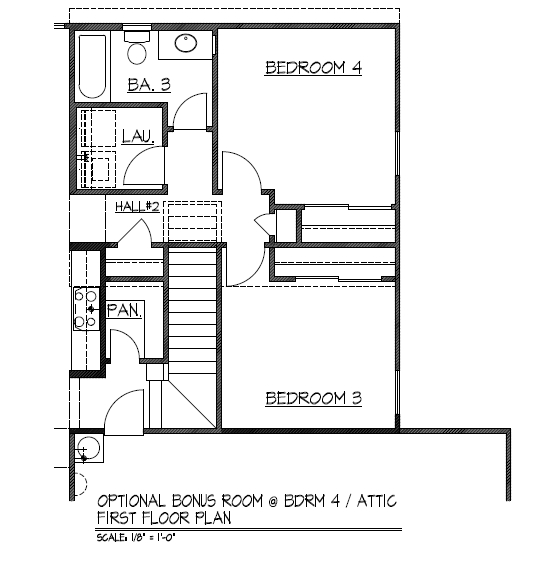 Optional Bonus Room at Bdrm 4 / Attic - First Floor Plan