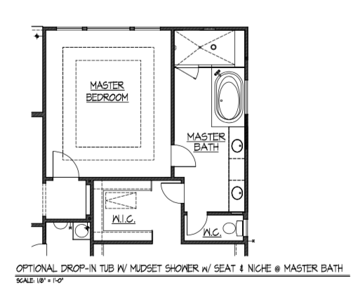 Optional Drop-In Tub w/ Mudset Shower w/ Seat & Niche @ Master Bath