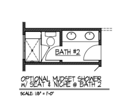 Optional Mudset Shower w/ Seat & Niche @ Bath 2
