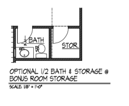 Optional Half Bath and Storage @ Bonus Room Storage
