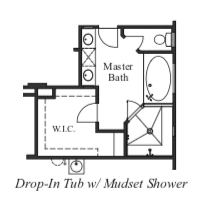 Drop-In Tub w/ Mudset Shower