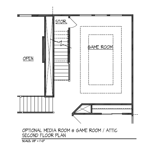Optional Media Room at Game Room / Attic - Second Floor Plan