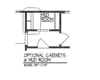 Optional Cabinets at Mud Room