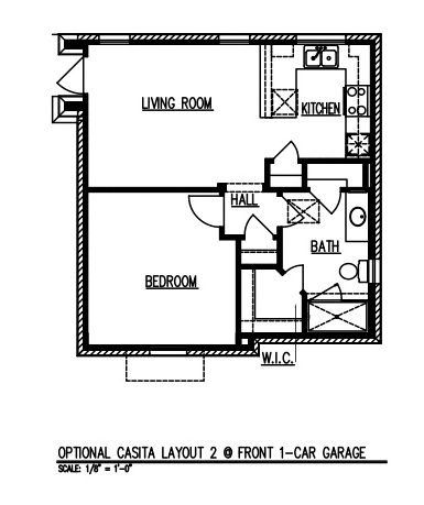 Casita Layout 2 @ Front 1-car Garage