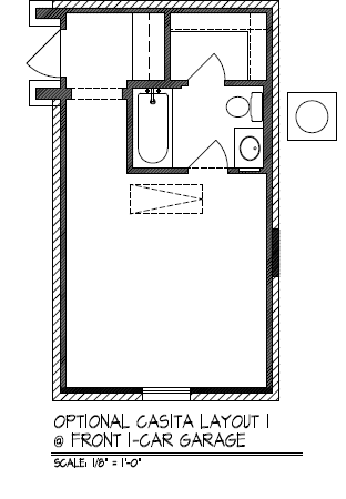 Optional Casita Layout @ Front 1-Car Garage