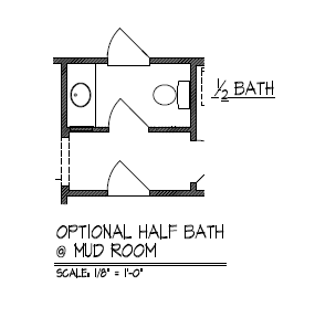 Optional Half Bath at Mud Room