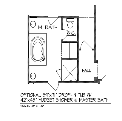 "Optional 39""x71"" Drop-In Tub w/ 42""x48"" Mudset Shower at Master Bath"