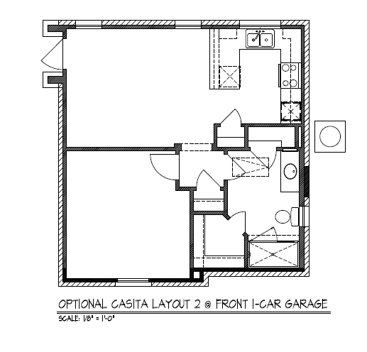 Optional Casita Layout 2 @ Front 1-Car Garage