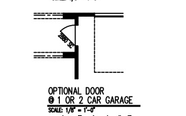 Optional Door @ 1 or 2 Car Garage