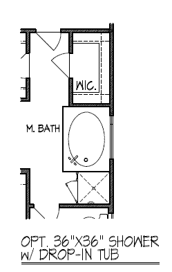 "Optional 36"" x 36"" Shower with Drop-in Tub"