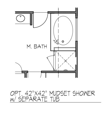 "42"" x 42"" Mudset Shower w/ Separate Tub"