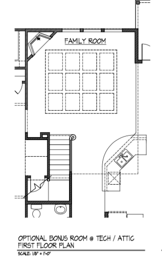 Bonus Room at Tech / Attic - First Floor Plan