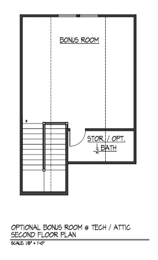 Bonus Room at Tech / Attic - Second Floor Plan