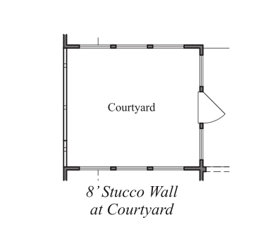 8' Stucco Wall at Courtyard