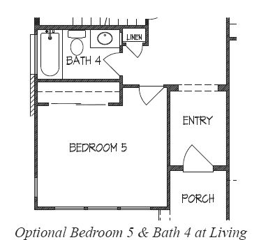 Bedroom 5 & Bath 4 at Living