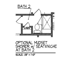 Mudset Shower w/ Seat & Niche at Bath 2