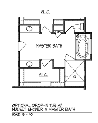Drop-In Tub w/ Mudset Shower at Master Bath