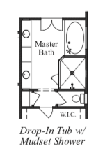 Drop-In Tub With Mudset Shower at Master Bath