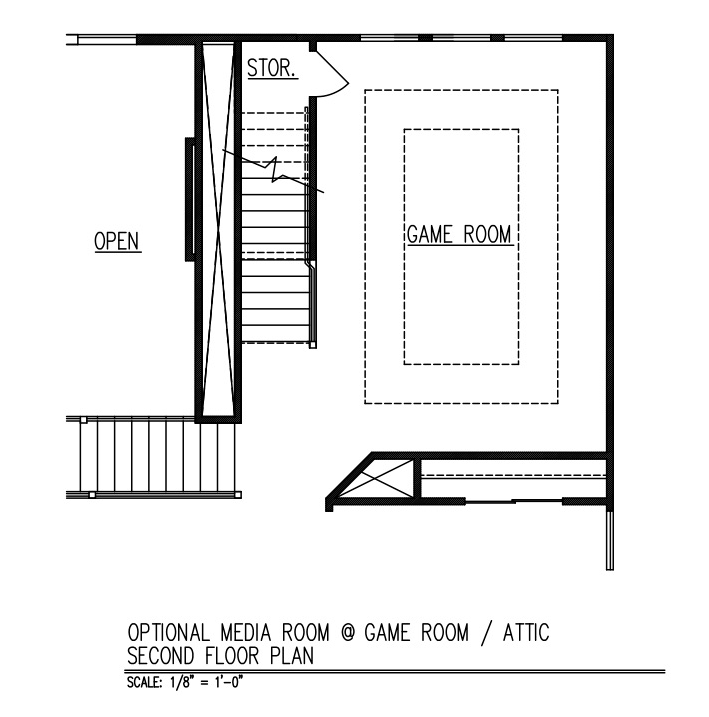 Media Room at Game Room / Attic - Second Floor Plan