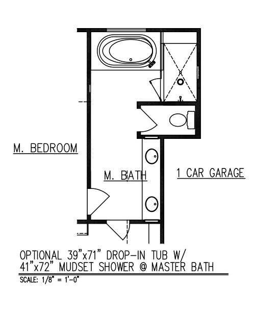 "39"" x 71"" Drop-In Tub w/ 41"" x 72"" Mudset Shower at Master Bath"