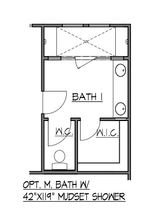 "Master Bath w/ 42"" x 119"" Mudset Shower"