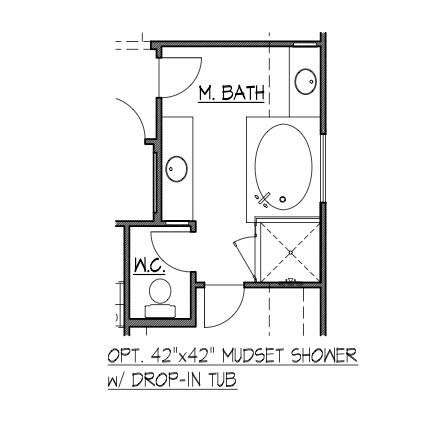 "42""x42"" Mudset Shower w/ Drop-In Tub"