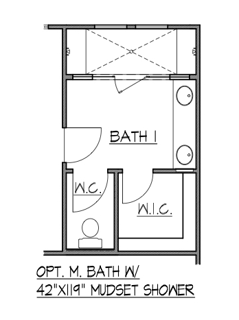 "Master Bath w/ 42""x119"" Mudset Shower"