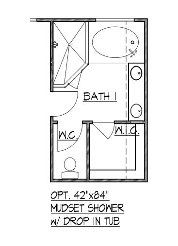 "42""x84"" Mudset Shower w/ Drop-In Tub"