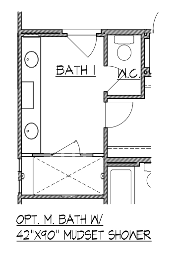 "Master Bath with 42"" x 90"" Mudset Shower"
