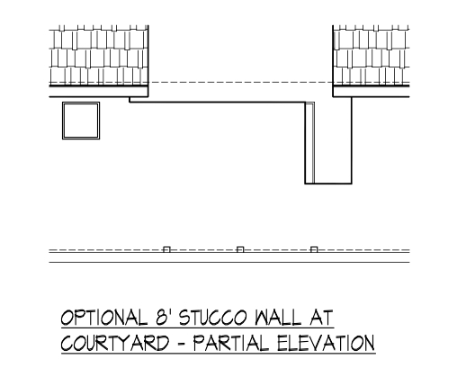 8' Stucco Wall at Courtyard - Partial Elevation