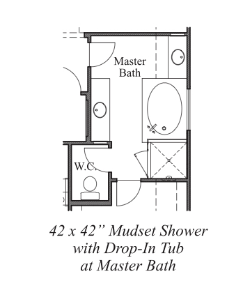 "42""x42"" Mudset Shower w/ Drop-In Tub at Master Bath"