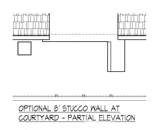 Optional 8' Stucco Wall at Courtyard - Partial Elevation